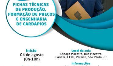 Curso de Fichas Técnicas de Produção, Formação de Preços e Engenharia de Cardápios – em SP!
